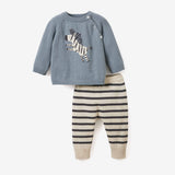 Zebra Sweater & Stripe Pant Baby Gift Set