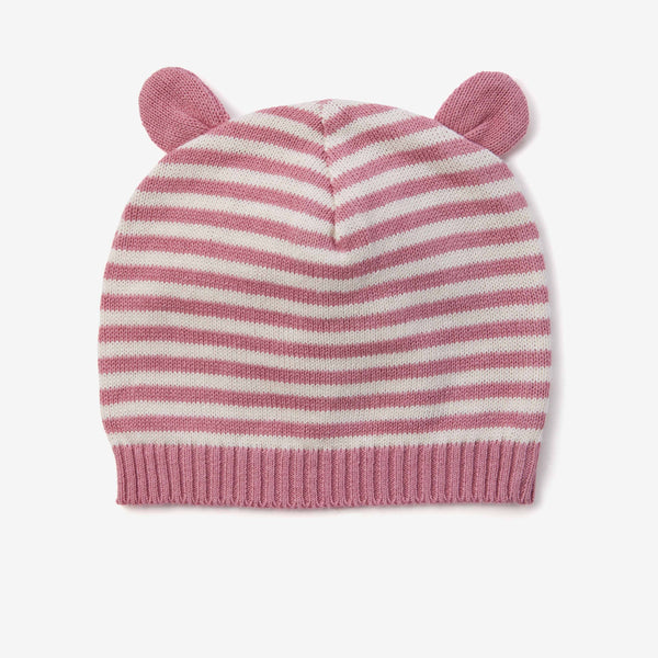 Mauve Stripe Knit Baby Hat with Ears