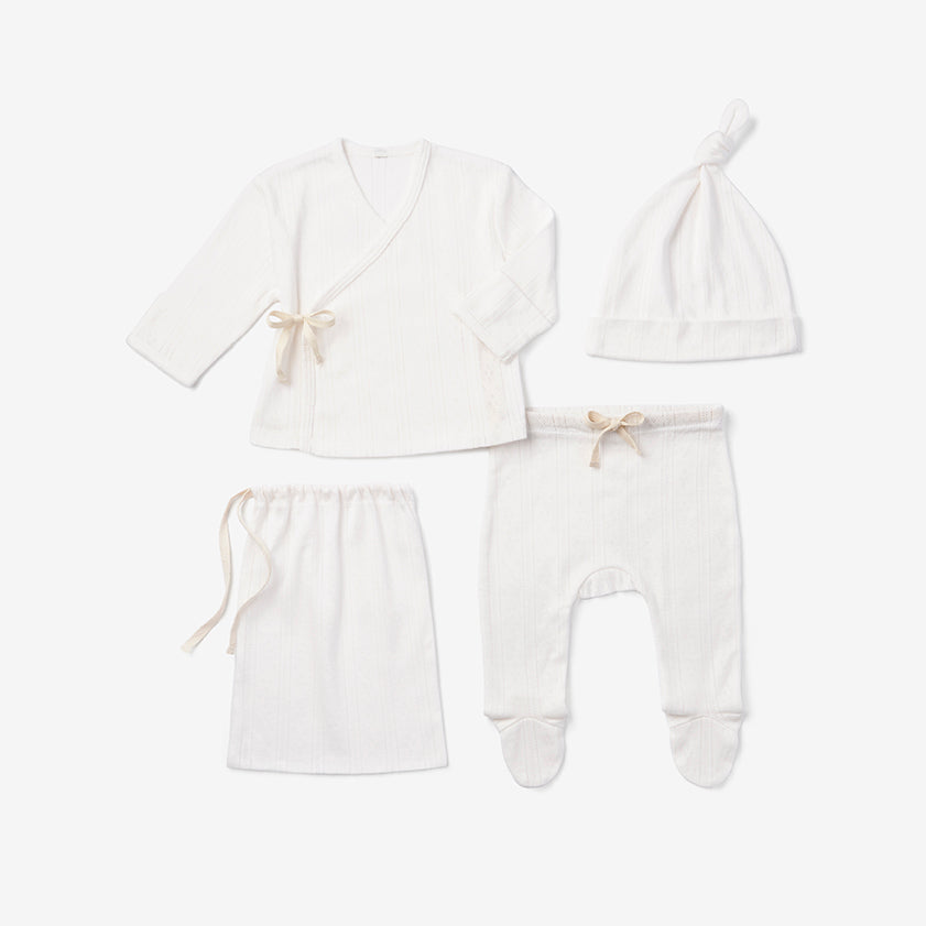 White Pointelle Newborn Gift Set