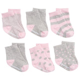 Socks Pink on Gray 6 Pk