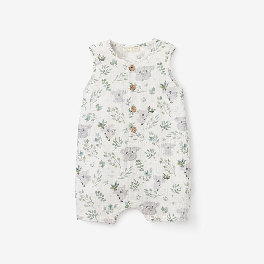Koala Print Organic Muslin Button Down Shortall