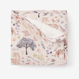Floral Print Organic Muslin Baby Security Blanket w/ Fur Back