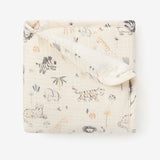 Safari Print Organic Muslin Baby Security Blanket w/ Fur Back