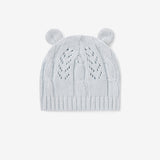 Pale Blue Leaf Knit Baby Hat with Ears