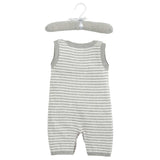 Gray Stripe Shortall Baby Bodysuit