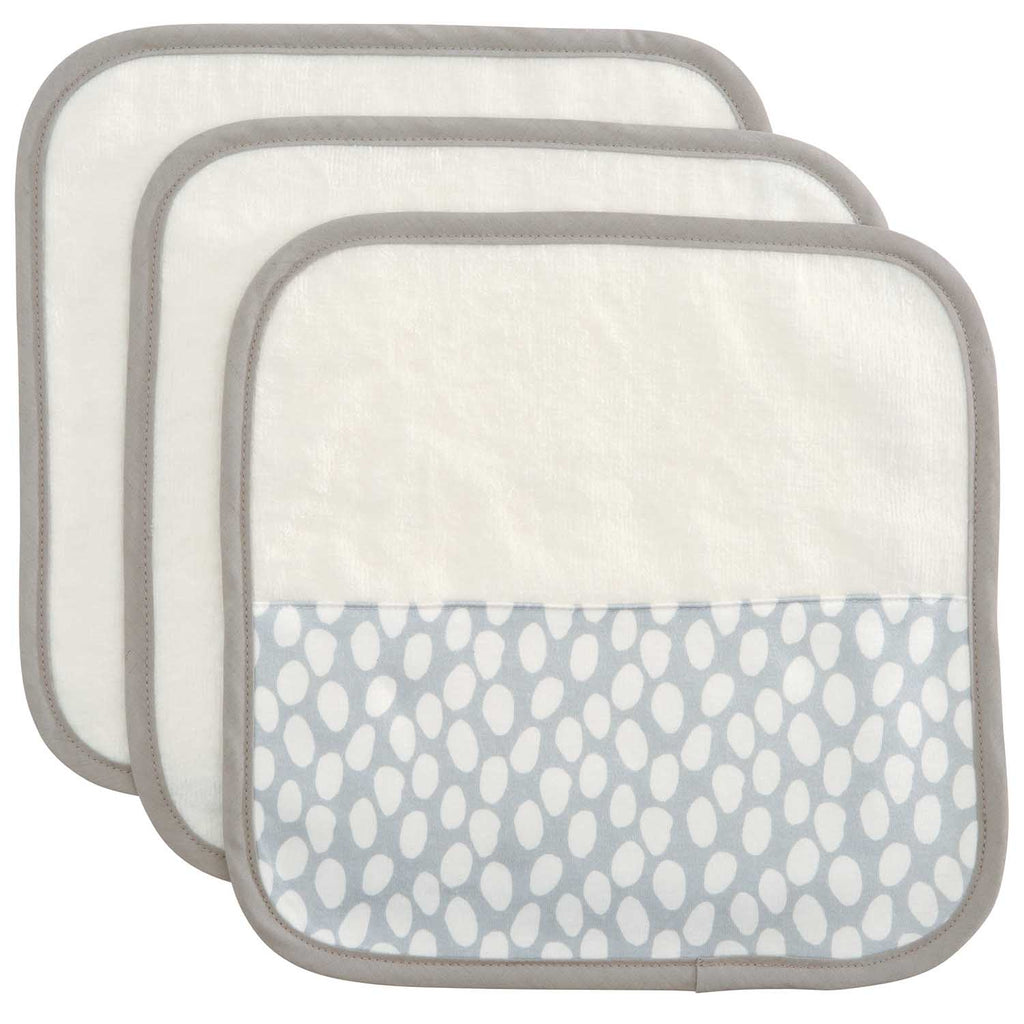Organic Washcloth Set Gray Dot