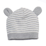 Knit Hat with Ears-Gray 3-6M