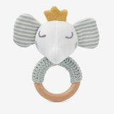 Elephant Prince Knit Baby Ring Rattle