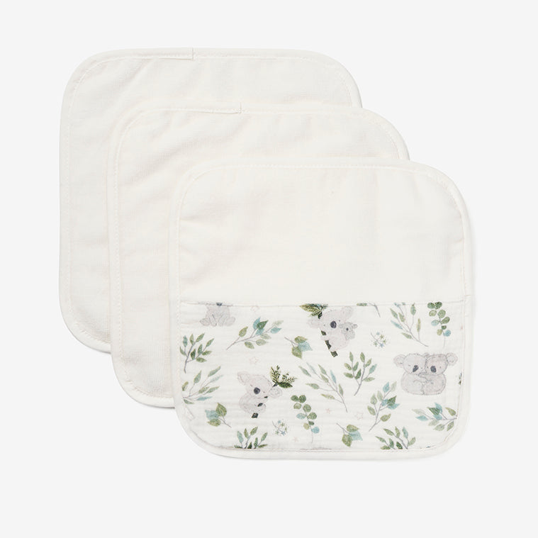 Koala Print Organic Washcloth Set
