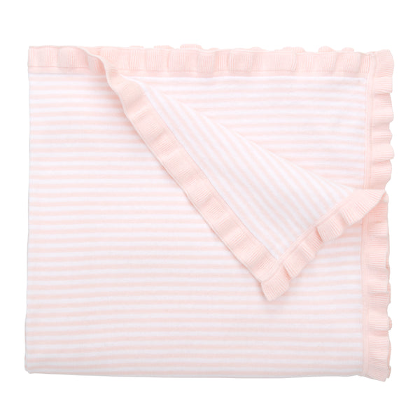 Light Pink Ruffle Striped Baby Blanket