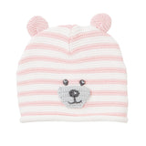 Bear Faced Pink Stripe Hat with Ears