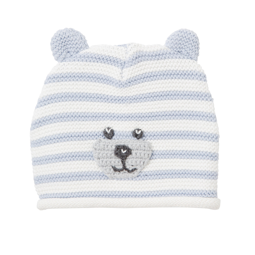 Blue Stripe Bear Baby Hat with Ears