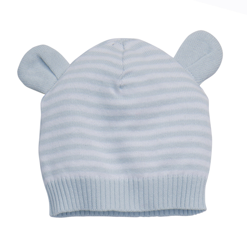 Knit Hat with Ears-Blue 3-6M