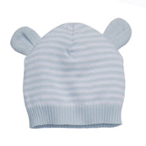 Blue Stripe Knit Baby Hat with Ears