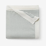 Sage Mini Stripe Cotton Knit Baby Blanket