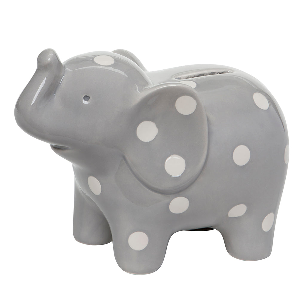Elephant Gray Ceramic Bank -
