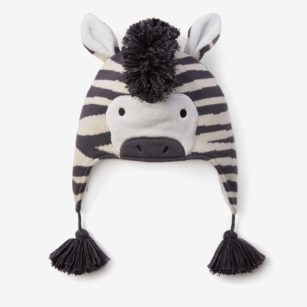 Zebra Aviator Knit Baby Hat