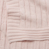 Chalk Pink Cable Knit Cotton Baby Blanket
