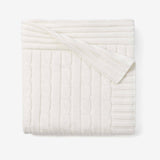 Whisper White Cable Knit Cotton Baby Blanket