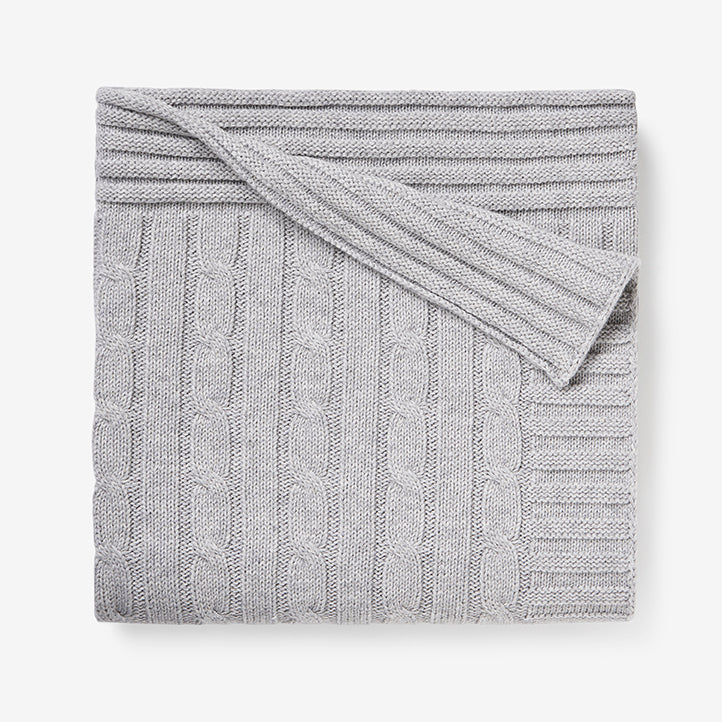 Heather Gray Cable Knit Cotton Baby Blanket
