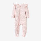 Blush Wildflower Print Zip-Up Bamboo Footie Pajama Jumpsuit