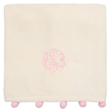 Pink Pom Trim Fleece Baby Blanket