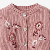 Floral Textured Knit Baby Cardigan