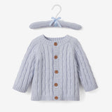 Light Blue Cable Knit Baby Sweater