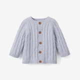 blue cable knit baby sweater