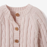 Chalk Pink Cable Knit Baby Sweater