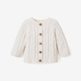 Whisper White Cable Knit Baby Sweater