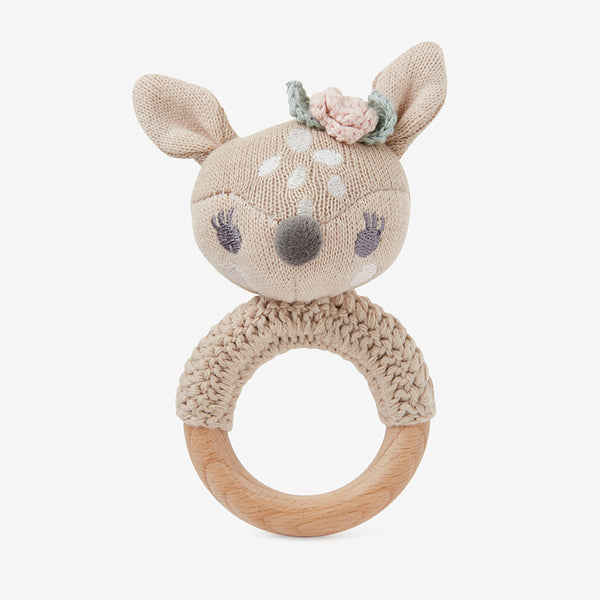 Fifi Fawn Knit Baby Ring Rattle