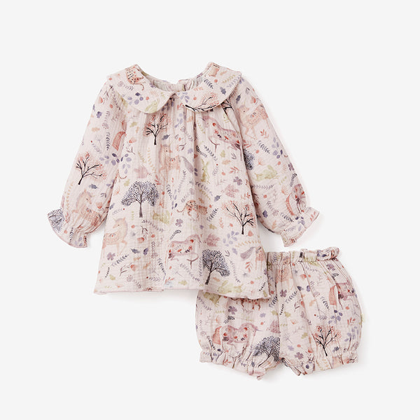Floral Organic Muslin Peter Pan Collar Dress