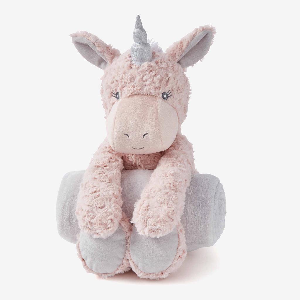 Pink Swirl Unicorn Bedtime Huggie Plush Toy