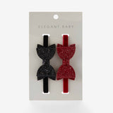 Holiday Sparkle Baby Hair Bow Headbands 2pk