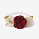 Burgundy Tri-Flower Baby Girl Headband