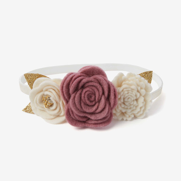 Mauve Tri-Flower Baby Girl Headband