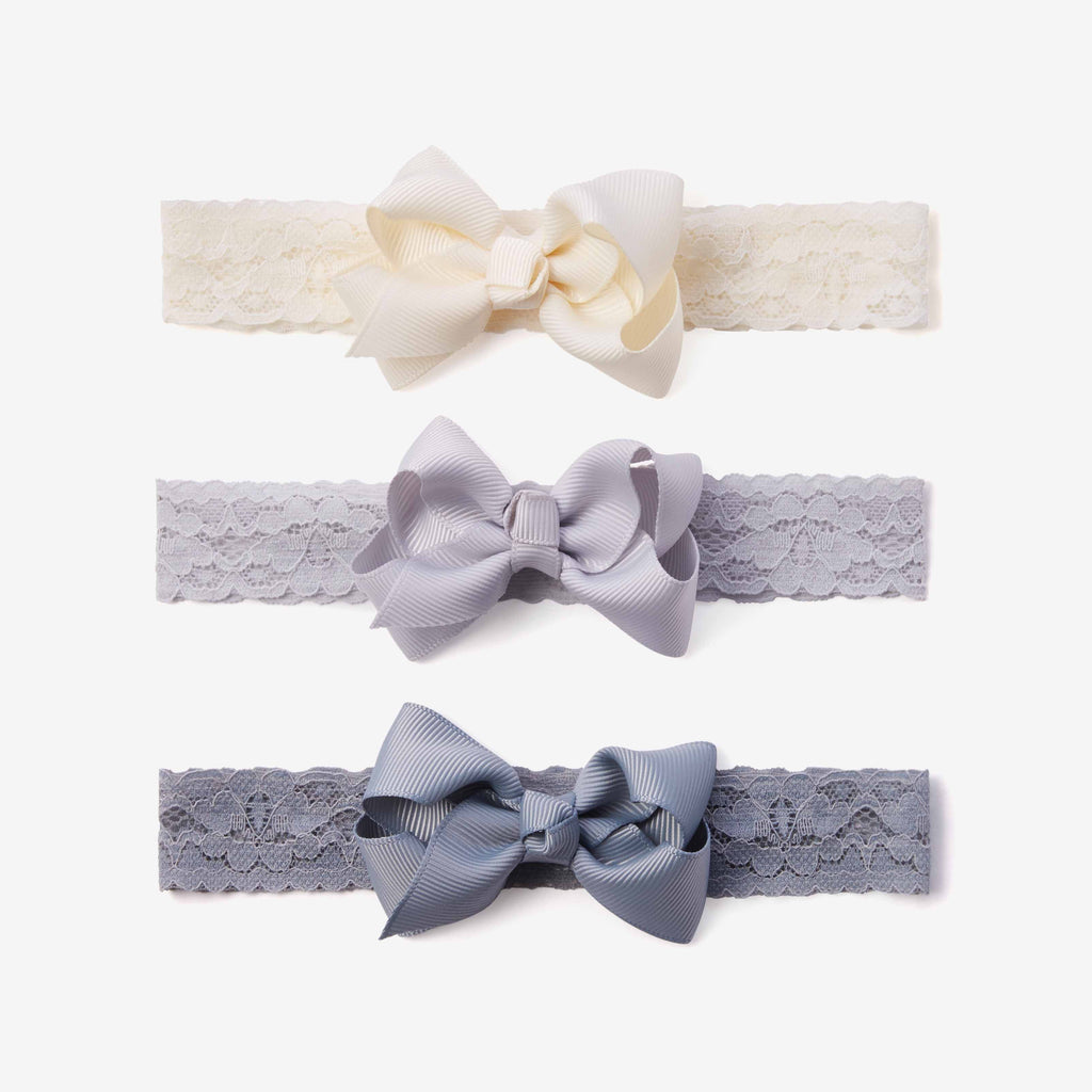 Gray Lace Baby Girl Headbands 3pk