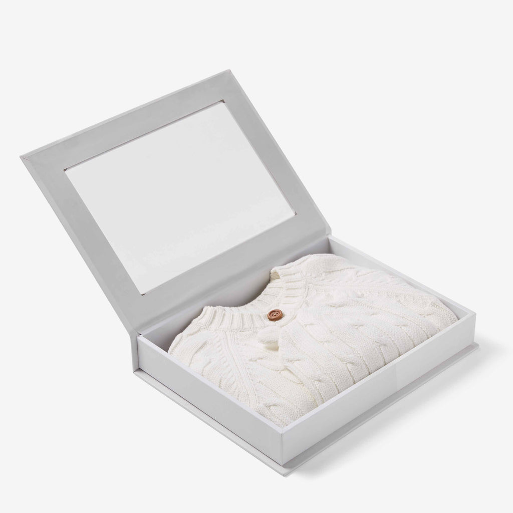 Whisper White Boxed Cable Knit Cardigan & Hat Baby Gift Set