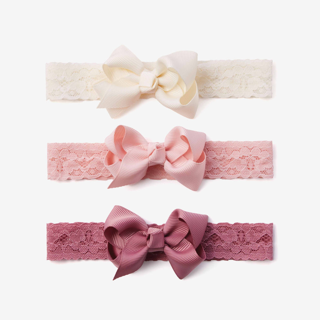 Mauve Lace Baby Girl Headbands 3pk