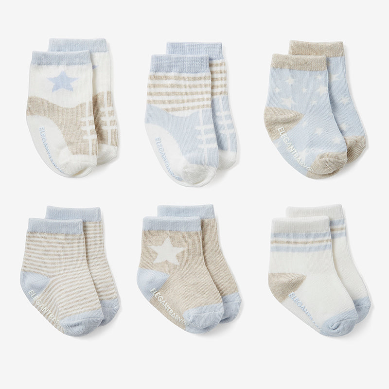 Baby Blues Non Slip Socks 6pk