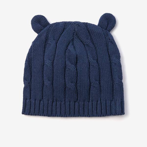Navy Cable Knit Baby Hat with Ears