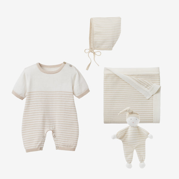 Wheat Mini Stripe Shortall Baby Gift Set