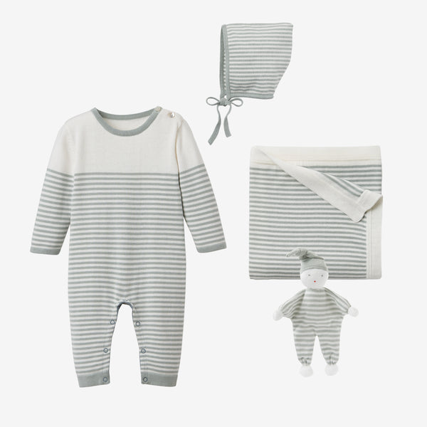Sage Mini Stripe Jumpsuit Baby Gift Set