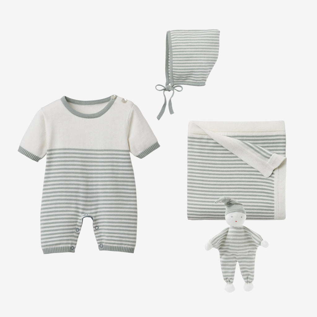 Sage Mini Stripe Shortall Baby Gift Set