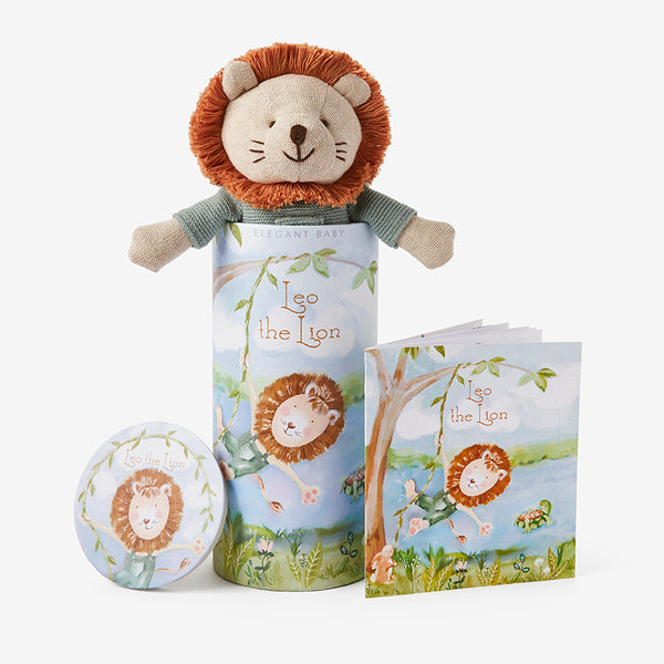 "10"" Leo Lion Baby Knit Toy & Book Set"