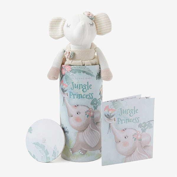 "10"" Elephant Princess Baby Knit Toy w. gift box"