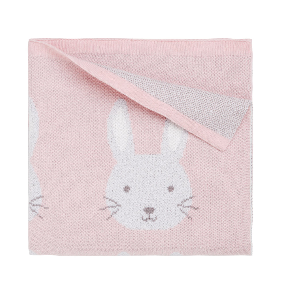 Pink Bunny Cotton Knit Baby Blanket