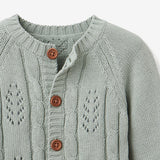 Sage Leaf Pointelle Knit Baby Cardigan