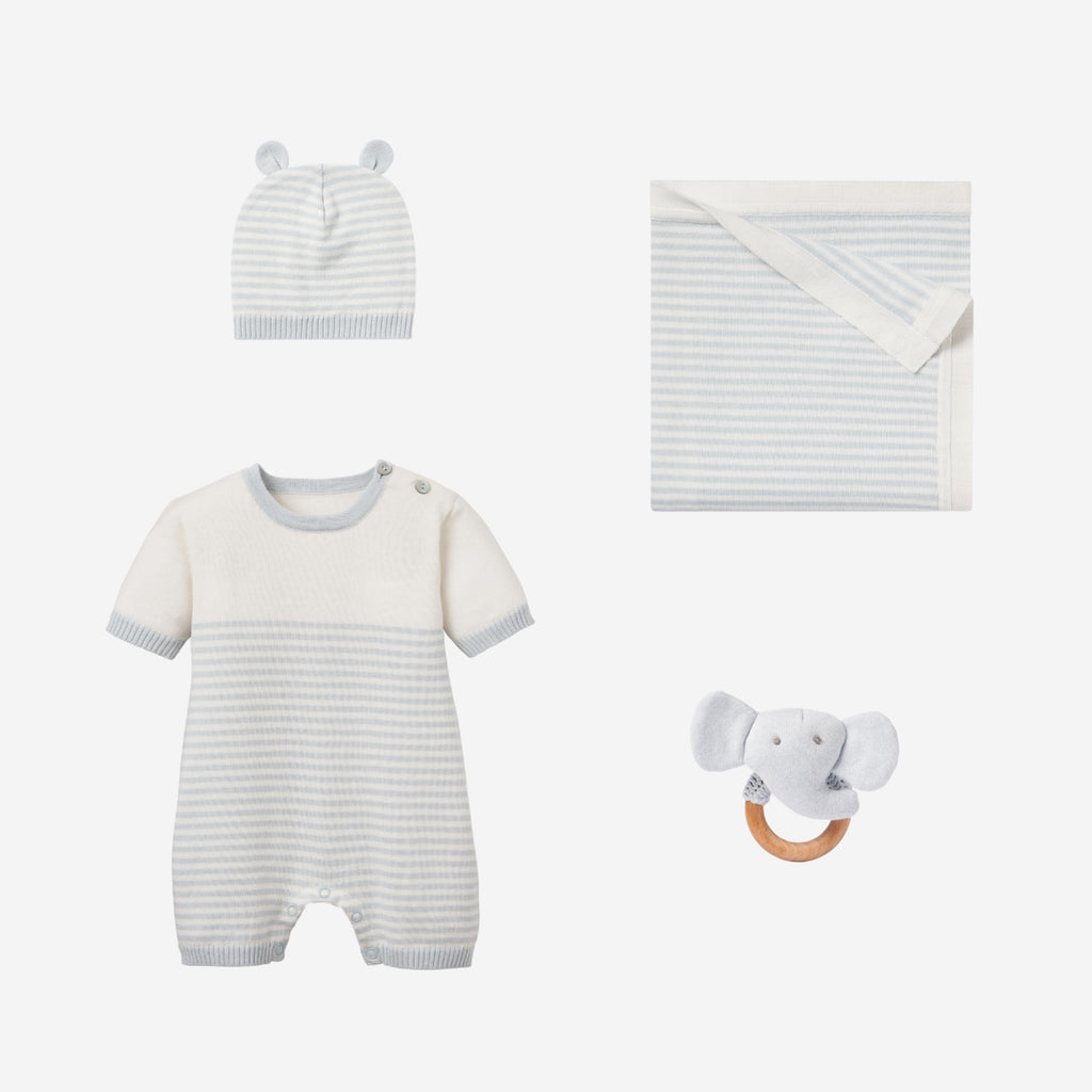 Cloud Blue Mini Stripe Bubble Baby Gift Set